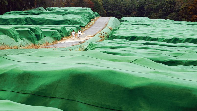 Catastrophe nucleaire de Fukushima, pres de 4 ans apres, travaux de decontamination a l'interieur de la zone contaminee