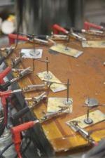 Prototype JBT ceramic batteries undergoing high-temperature testing.