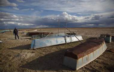 Fishing boats on what was once Lake Poopó's shore.