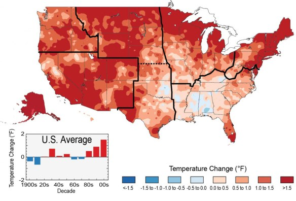 """""""The colors on the map show temperature changes over the past 22 years (1991-2012) compared to the 1901-1960 average for the contiguous U.S., and to the 1951-1980 average for Alaska and Hawai'i. The bars on the graph show the average temperature changes by decade for 1901-2012 (relative to the 1901-1960 average). The far right bar (2000s decade) includes 2011 and 2012. The period from 2001 to 2012 was warmer than any previous decade in every region."""" (U.S. Global Change Research Program)"""