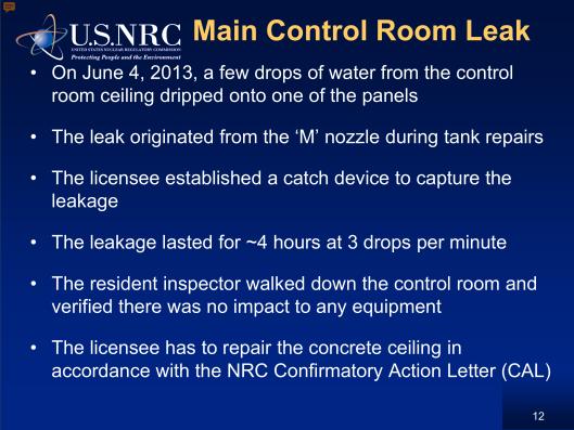 Main Control Room Leak Palisades