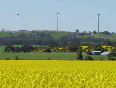 Wind turbines in South Australia. Photo by Fairv8. CC BY-SA 4.0. Wikimedia Commons.