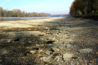 Rhein at Dettenheim during 2003 heat wave. Photo by BlueBreezeWiki. CC BY-SA 3.0. Wikimedia Commons.