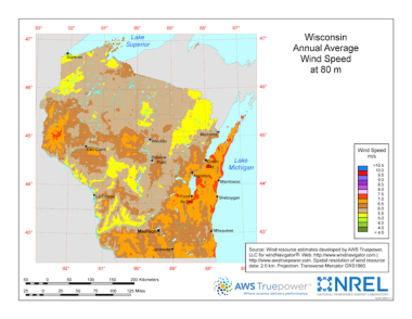 Wind potential in Wisconsin. Please click on image to enlarge.
