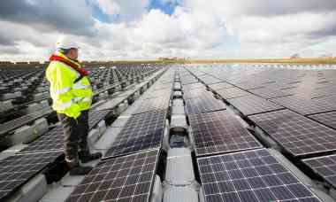 The floating solar farm on Godley Reservoir near Manchester. Photograph: Ashley Cooper