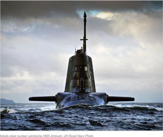 Astute-class nuclear submarine HMS Ambush. UK Royal Navy Photo