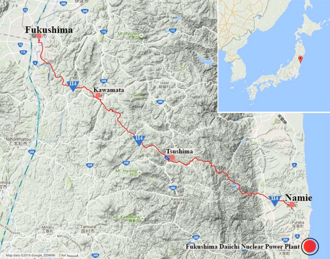 A map tracing Japan's Highway 114 through the Fukushima evacuation zone.jpg