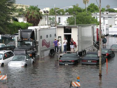 Flooding stops a film crew in Miami Beach  (Photo by maxstrz, CC BY SA, Wikimedia Commons)