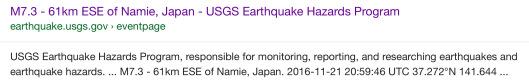 USGS 7.3 screen shot google search