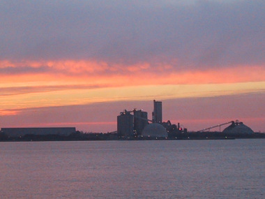 Sunset at the defunct Big Rock Point nuclear plant (Photo by John Hritz, Wikimedia Commons)