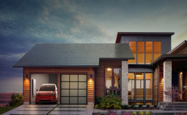 House with solar roof tiles