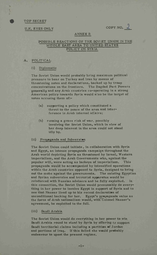 19 Sept. 1957 Possible Soviet reactions to United States policy on Syria UK Gov CAB 301/148 Annexe B  p. 1