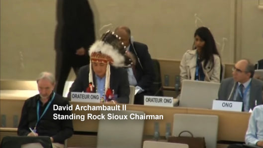 Standing Rock Sioux Tribe Chairman Addresses UN Human Rights Commission in Geneva, 20 Sept 2016, Indian Law Resource Center video screen shot