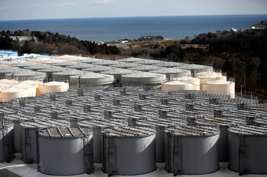 Storage tanks for radioactive water are seen at tsunami-crippled Fukushima Daiichi nuclear power plant in Okuma town, Fukushima prefecture
