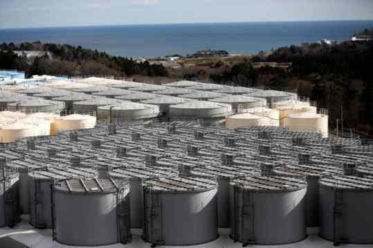 Storage tanks for radioactive water are seen at tsunami-crippled Fukushima Daiichi nuclear power plant in Okuma town, Fukushima prefecture